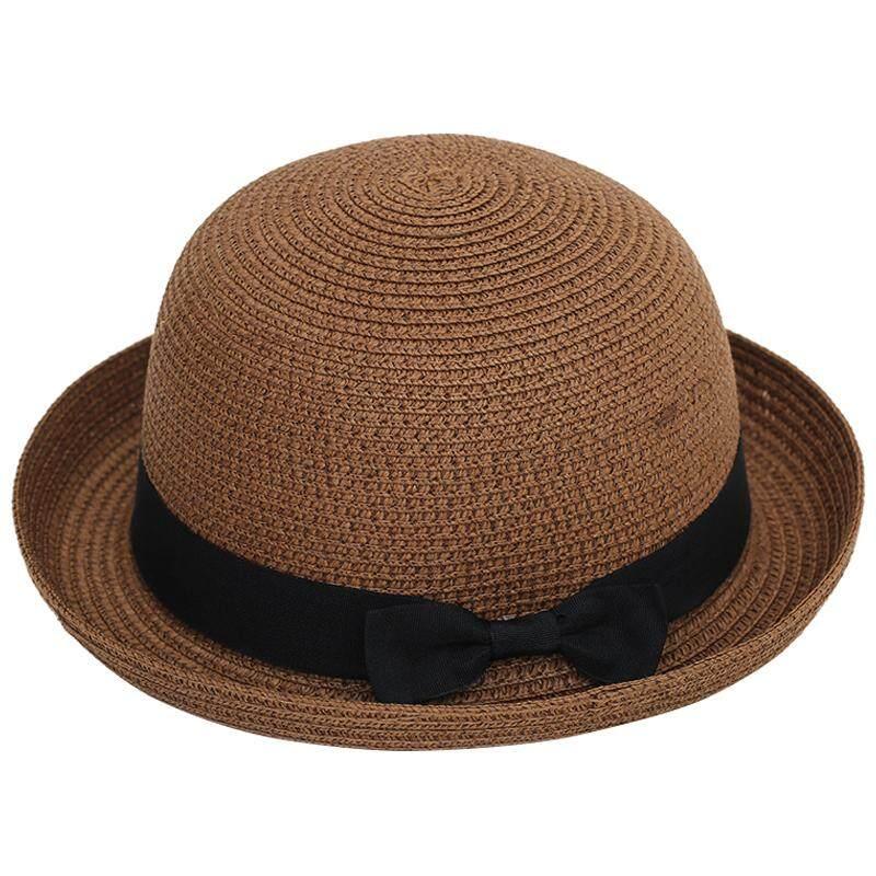 Wanita Topi Jerami Bundar Sun Topi Fedora Pantai Derby Gaya Cloche Topi  Brim Kopi-Internasional 4dc583a5bc