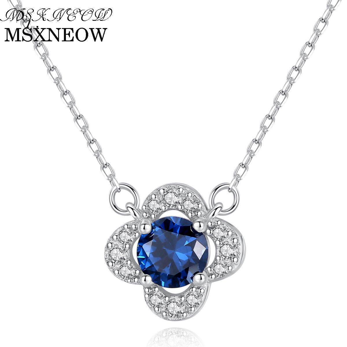 MSXNEOW Snowflake Genuine Blue Topaz Solid 925 Sterling Silver Pendant Fine Jewelry Does Include Chain For Women On SaleSN01117