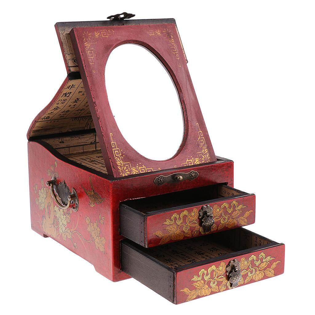 Fityle Vintage Wood Make Up Dresser 2 Drawer 1 Mirror Jewelry Necklace Case Box Red