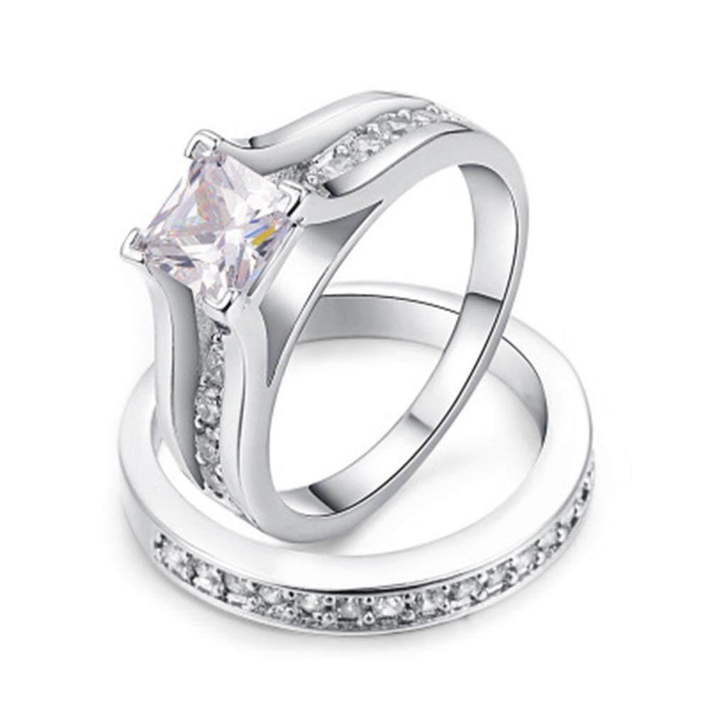 Fancyqube 2 Pcs Zirkon Set Anti Karat Ganda Cincin untuk Wanita Gold Warna Kristal Wanita Pengantin Pernikahan Pertunangan Jari Cincin -Internasional