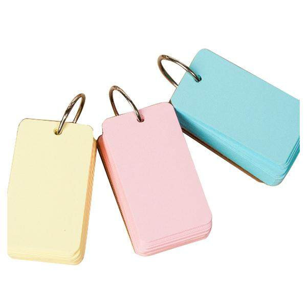 3pcs Binder Ring Easy Flip Flash Cards Study Cards, 100 Blank Pages,yellow+blue+pink