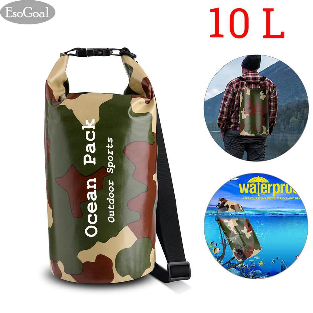 Esogoal Waterproof Dry Bag, Camouflage Dry Compression Sack With Zip Lock Seals & Detachable Shoulder Strap For Swimming, Boating, Kayak, Rafting, Hiking By Esogoal.