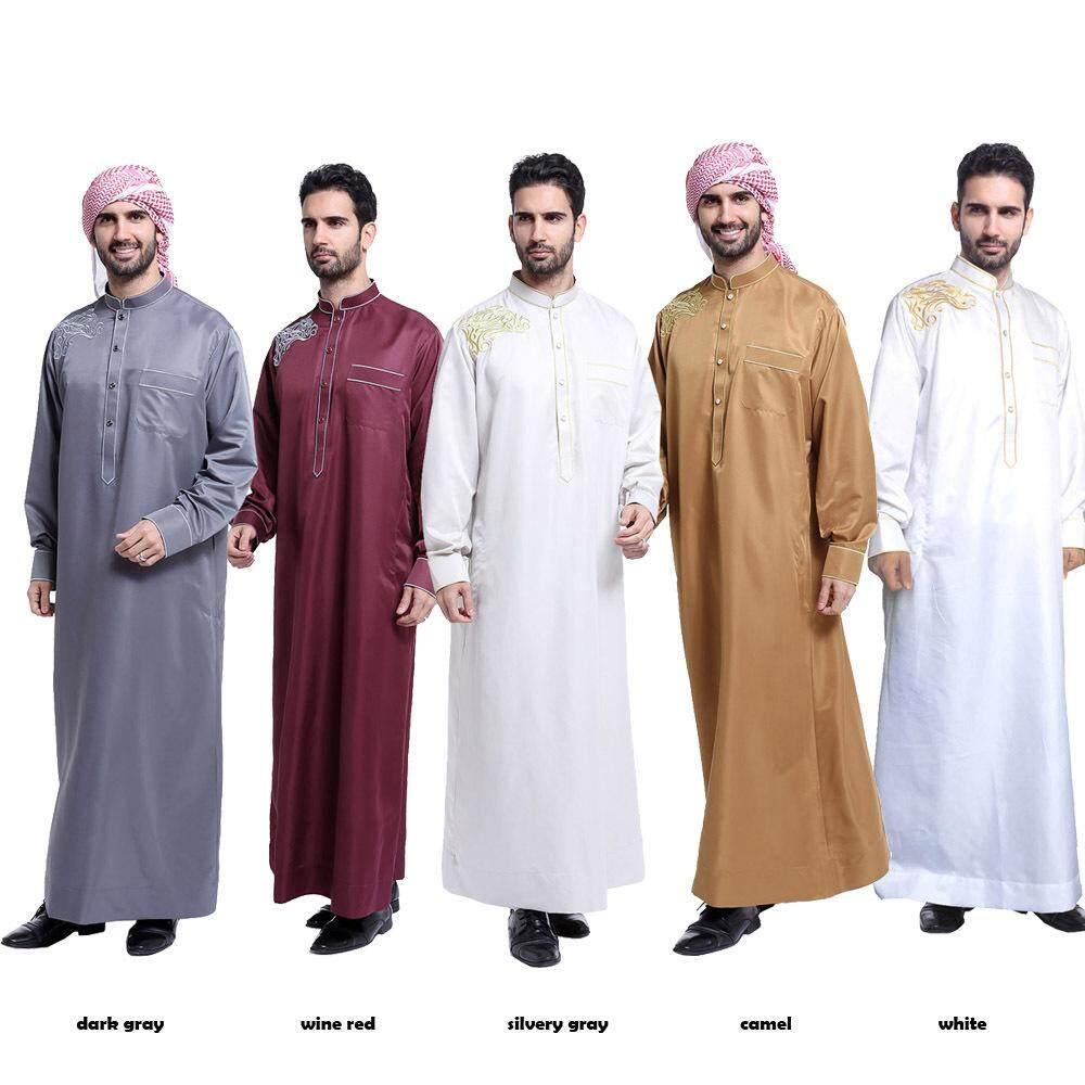 คุณภาพสูงผู้ชายเสื้อผ้าสไตล์ Abaya 5 สีมุสลิมอิสลามเสื้อผ้าสำหรับชายขนาดพิเศษ - Intl.