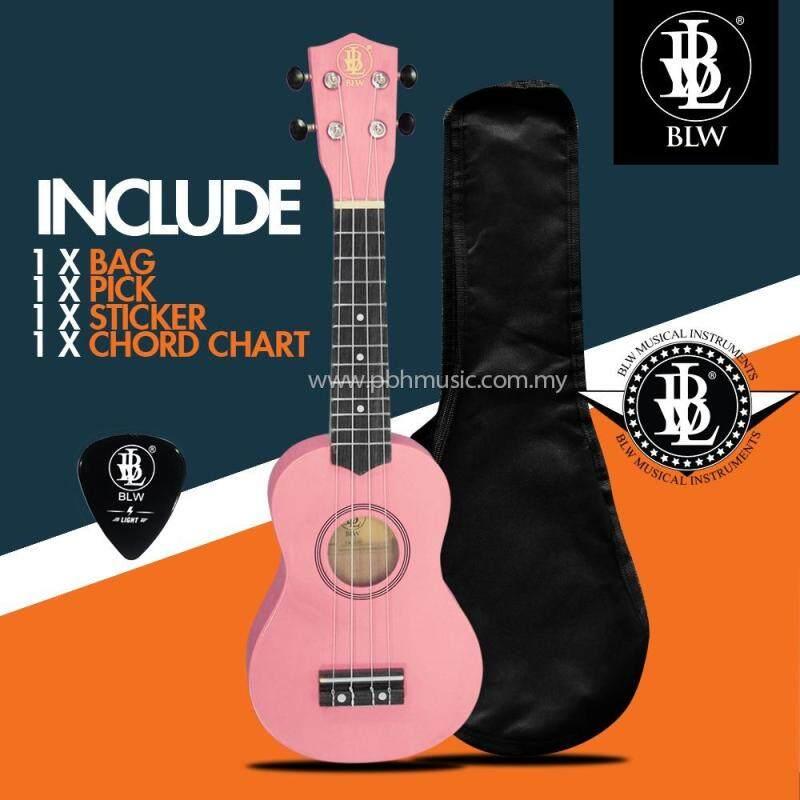 BLW 21 Inch 4 Nylon Strings Soprano Ukulele Hawaii Guitar FREE Bag, Chord Chart, Pick & Sticker (Pink) Malaysia