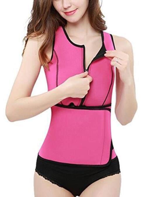 Women Sauna Suit Waist Trainer Vest for Sport Workout Weight Loss Corset With Belt Neoprene Shirt Body Shaper Tank Top Size 2XL Rose - intl