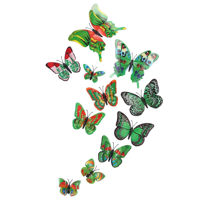 hatai OXOQO 12 Pcs 3D Butterfly Sticker Fridge Magnet Art Design Decal Wall Stickers Refrigerator Magnets Wedding Party Home Decor - intl