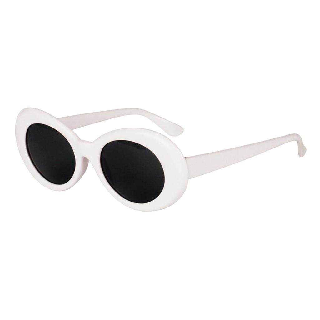 bcd0ca5b03 MagiDeal Retro Clout Goggles Glasses Oval Bold Mod Thick Framed Sunglasses  White
