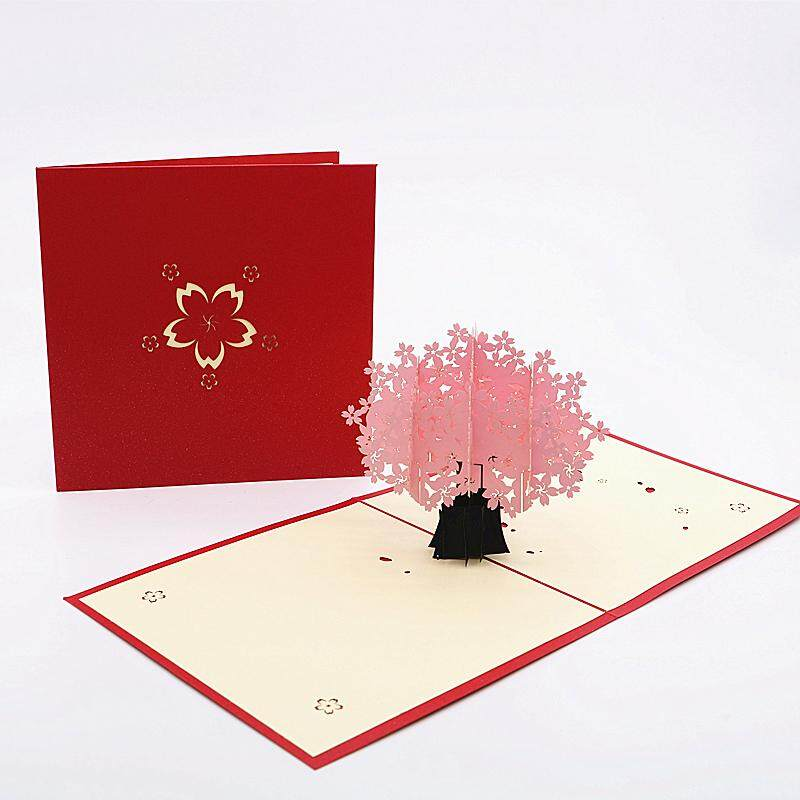 3D Pink Cherry Blossom Card
