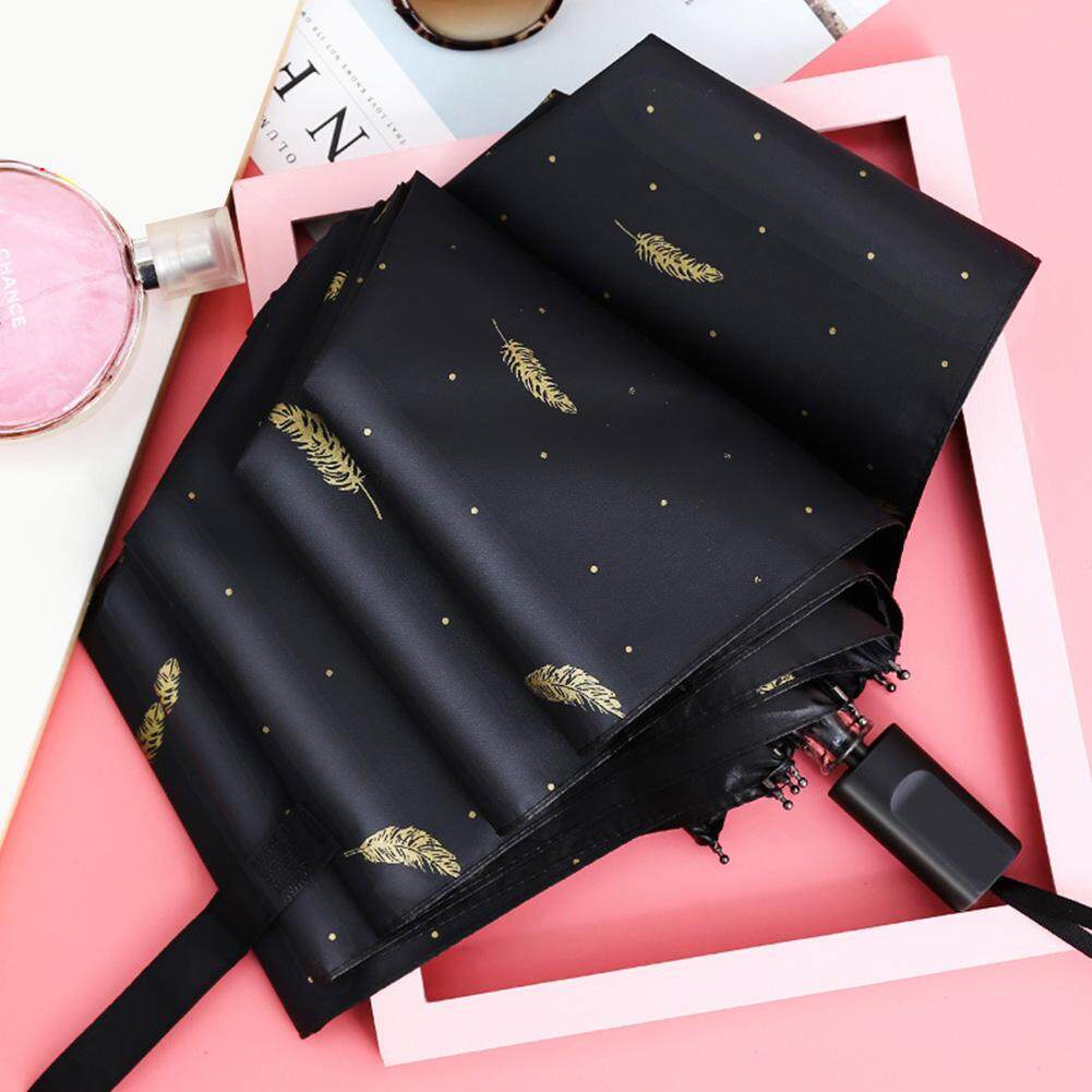 Ultra Light UV-proof Parasol Feather Printed Folding Fashion Sunshade Umbrella