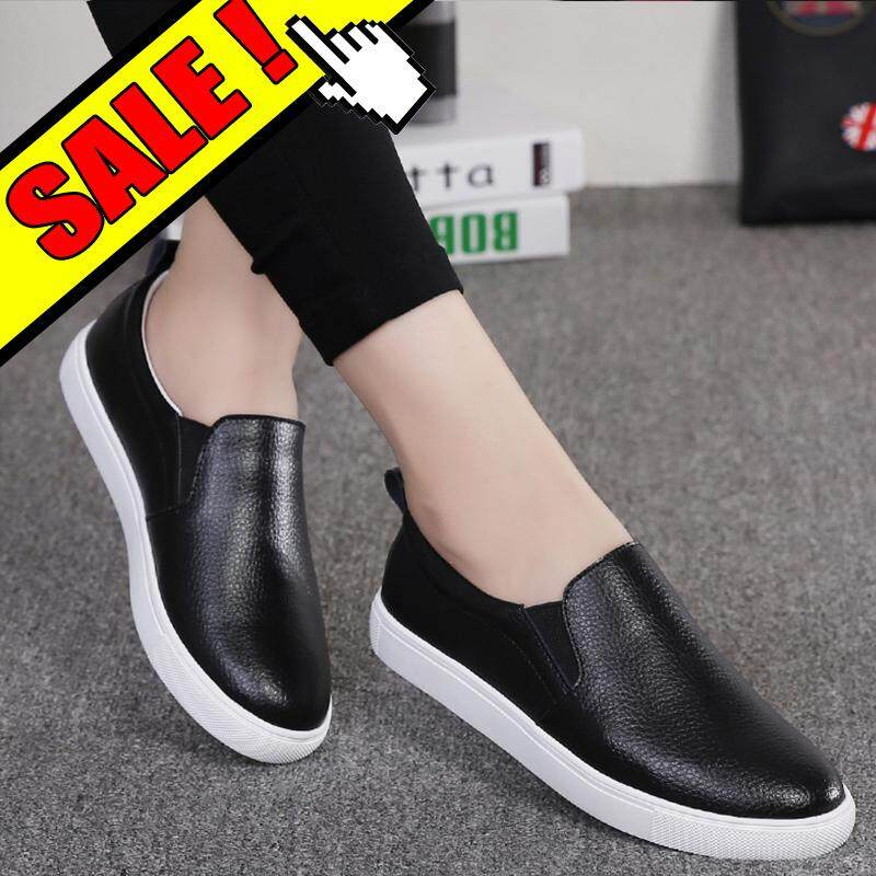 5d2368e43b15 YEALON Women Sneakers Slip on Flat Shoes for Women Casual Flats Shoes  Leather White Sole Female Lazy Shoes Ladies White Black Boat Shoes