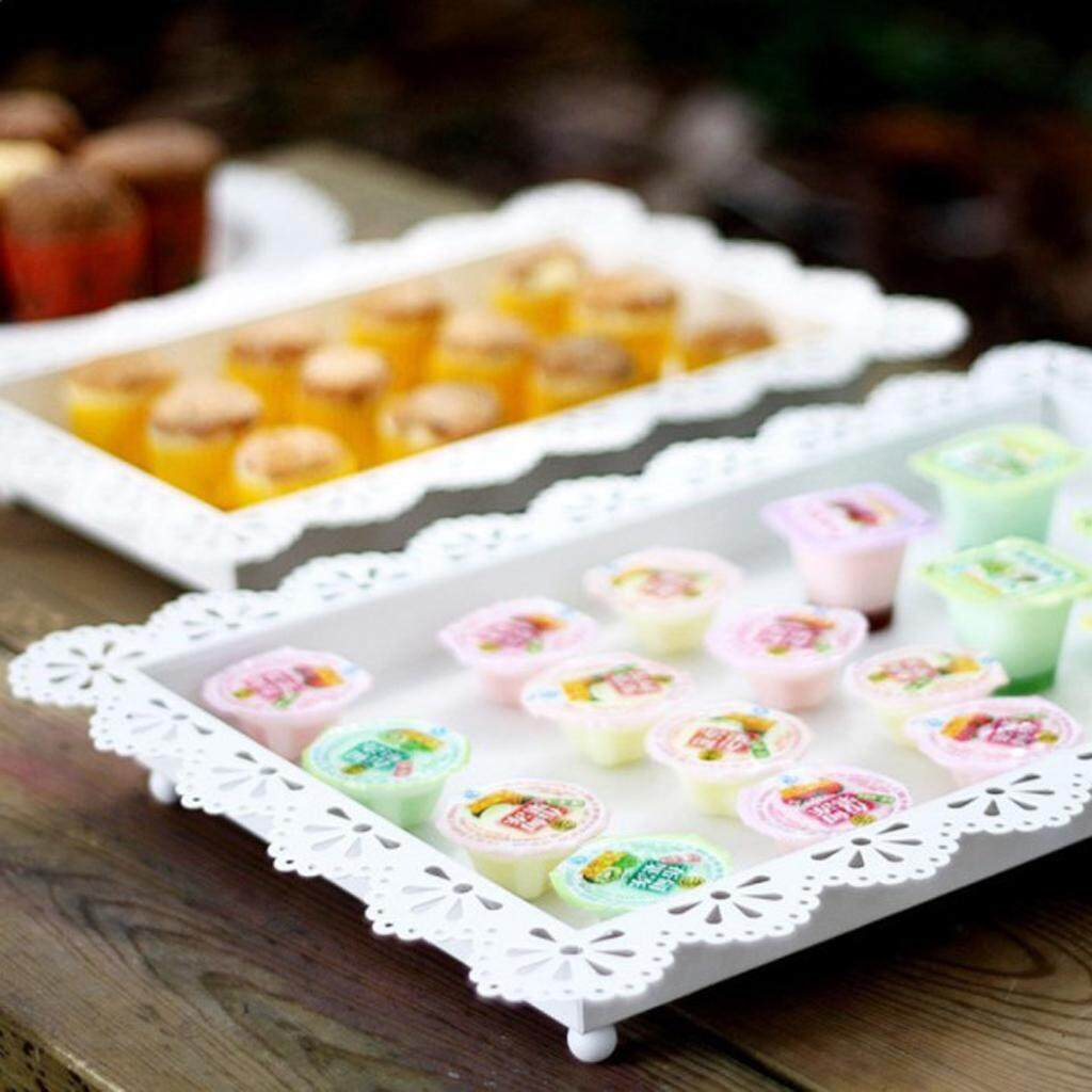 BolehDeals Elegant Hollow Lace Edge Fruit Cake Plate Food Serving Tray Off White L