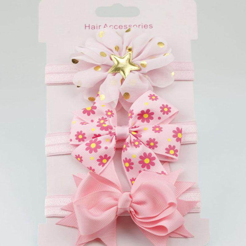 ed1bdbd5a 3Pcs/Set Baby Girl Headbands Elastic Bowknot Hair Band Turban Kids Skinny  Stretchy Flower Hairband