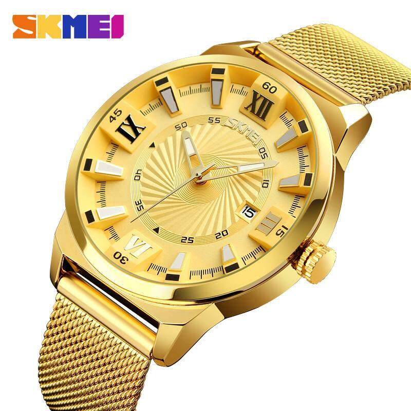 Nơi bán SKMEI Fashion Quartz Watches Men Luxury Business Gold Watch Stainless Steel Waterproof Wristwatches Male Clock 9166