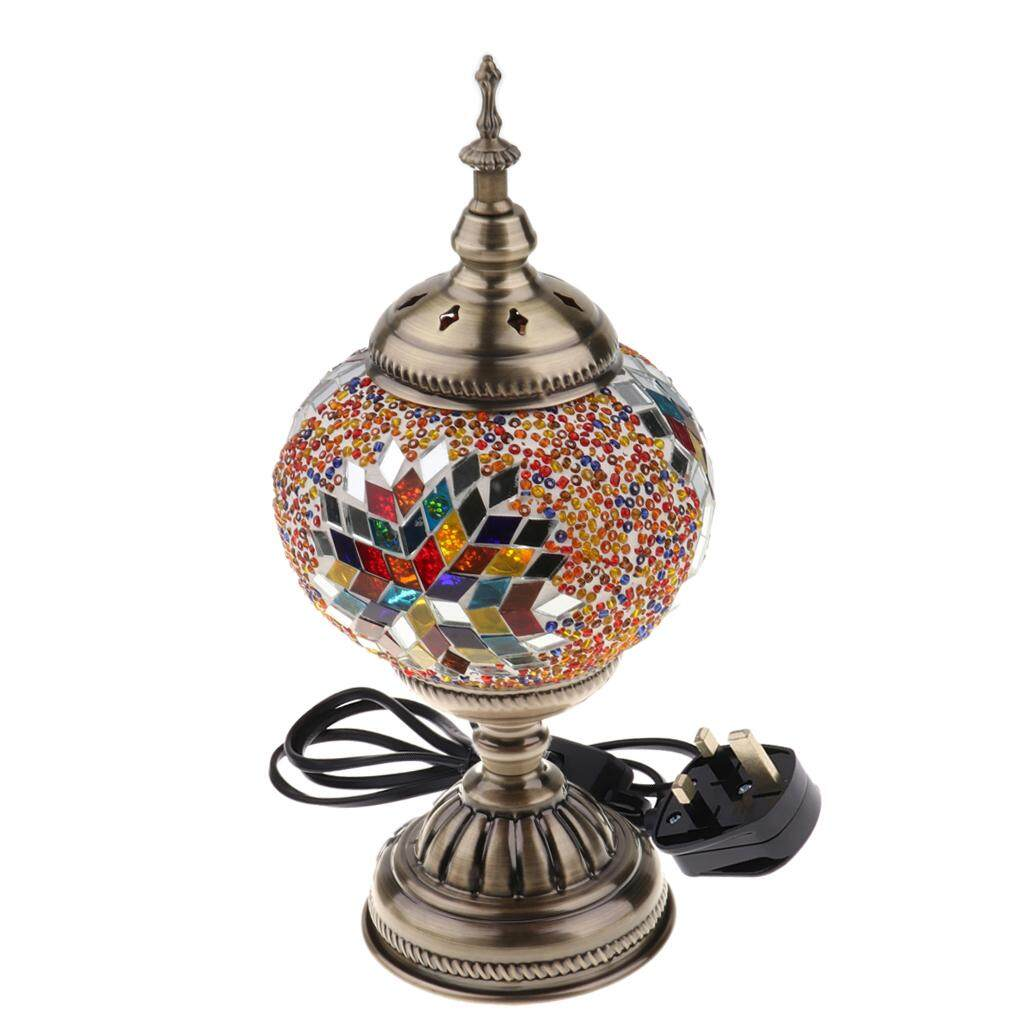BolehDeals Handmade Turkish Mosaic Glass Table Desk Bedside Lamp Light UK plug Colorful