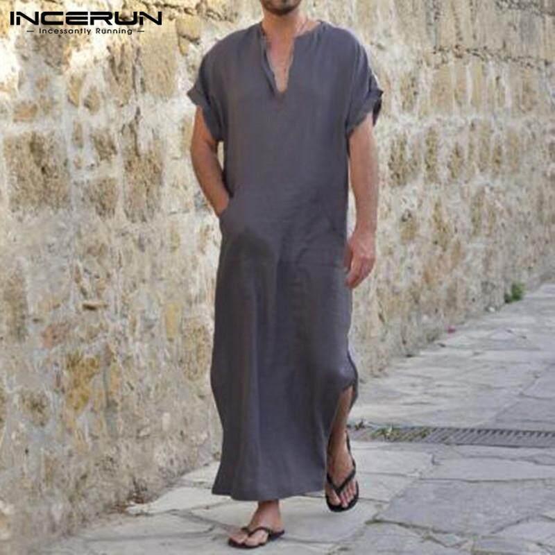 INCERUN Mens Summer V-neck Short Sleeve Shirt Vintage Loose Casual Tee Kaftan - intl