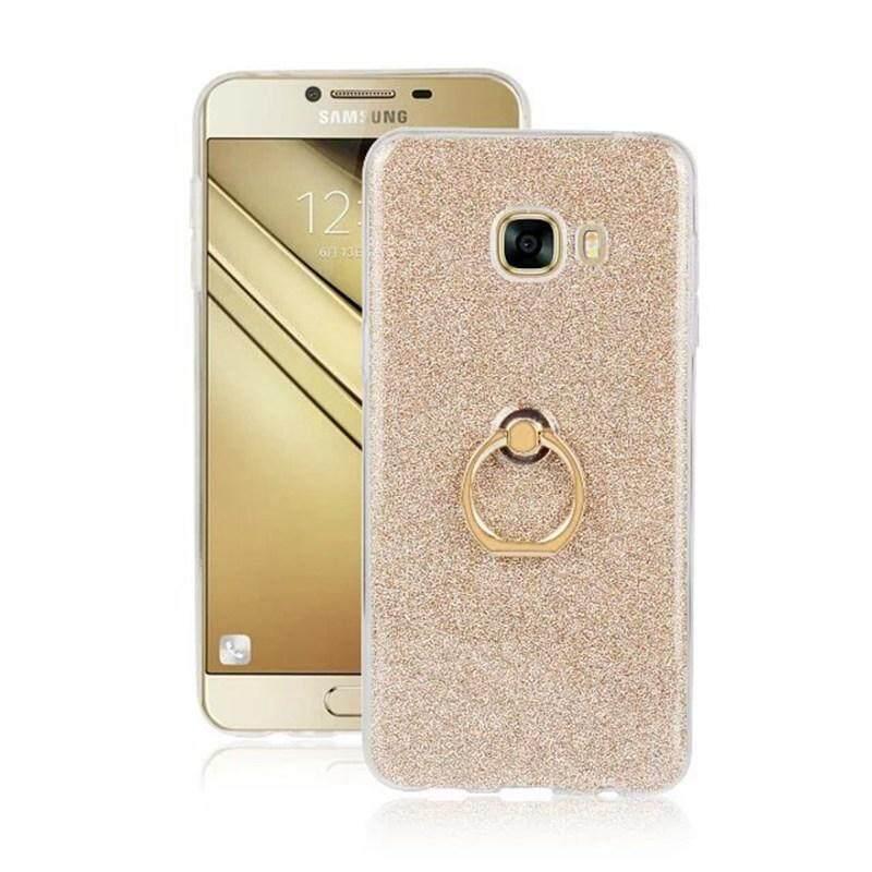 Tuke Case untuk Samsung Galaxy C5 C 5 C500 Penutup Belakang untuk Samsung C5 C 5 Bling Bubuk Finger Ring Stand Pemegang Casing TPU- internasional