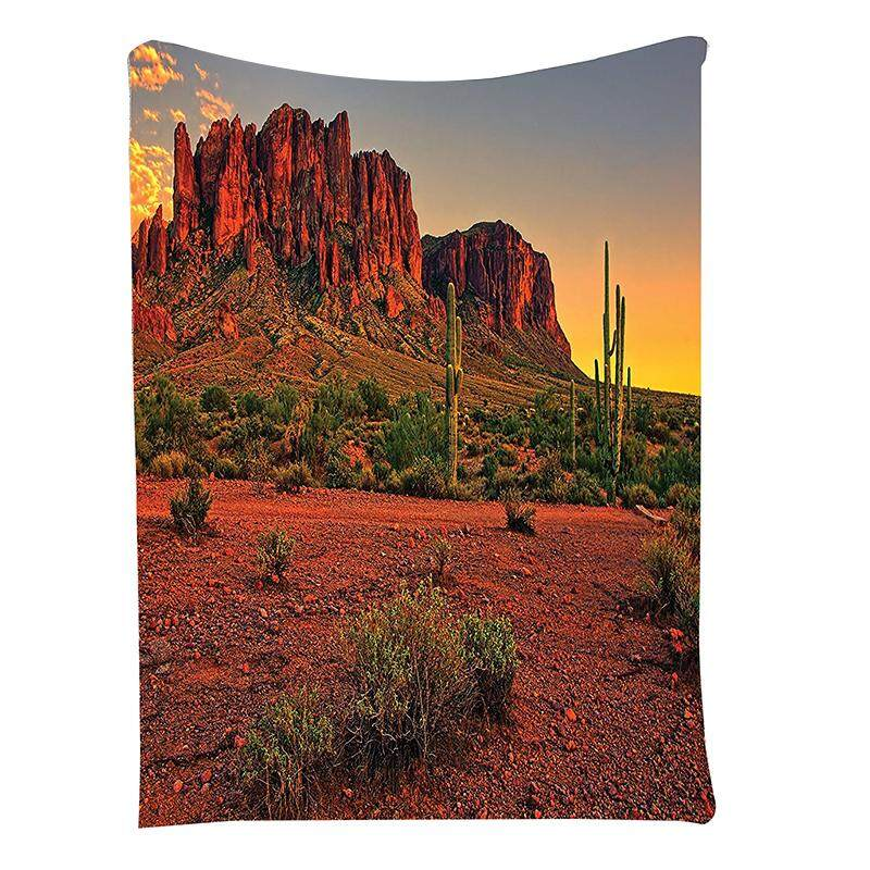 Colorful Sunset View of the Desert and Mountains near Phoenix Arizona USA Image Wall Hanging Tapestry Yellow Brown + Green