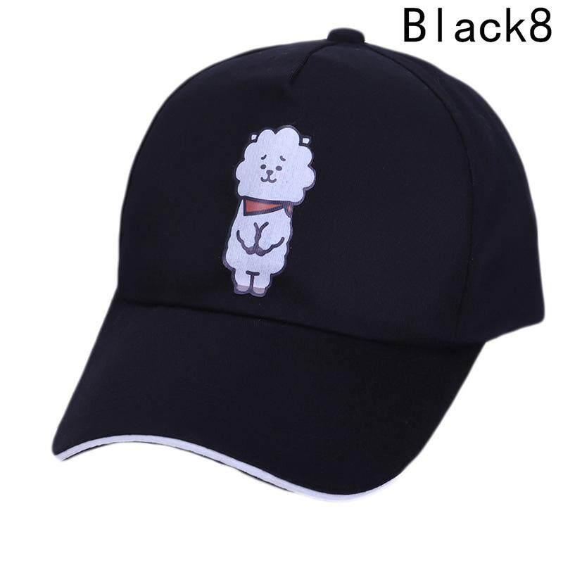 Kuhong Kpop Kartun BTS Topi Proteksi Matahari Musim Panas Topi Basebal Topi H08-Intl