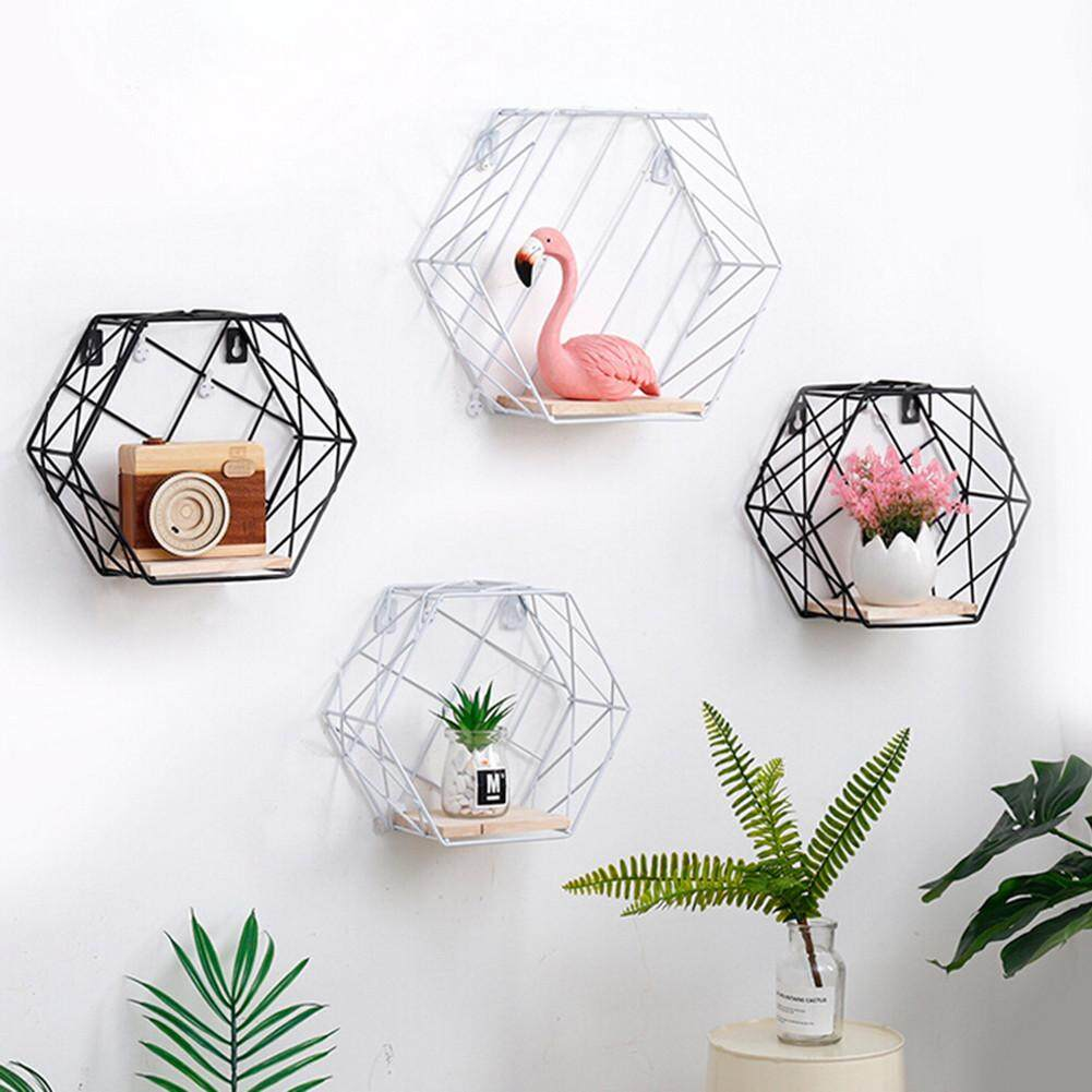 Iron Hexagonal Grid Wall Storage Shelf Combination Wall Hanging Living Room Bedroom Geometric Figure-shaped Bookshelf Bookcase Decoration