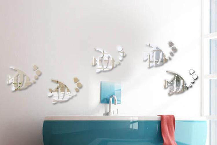 Acrylic mirror wall stickers fish cartoon new plastic decoration ( good quality fast delivery ) -