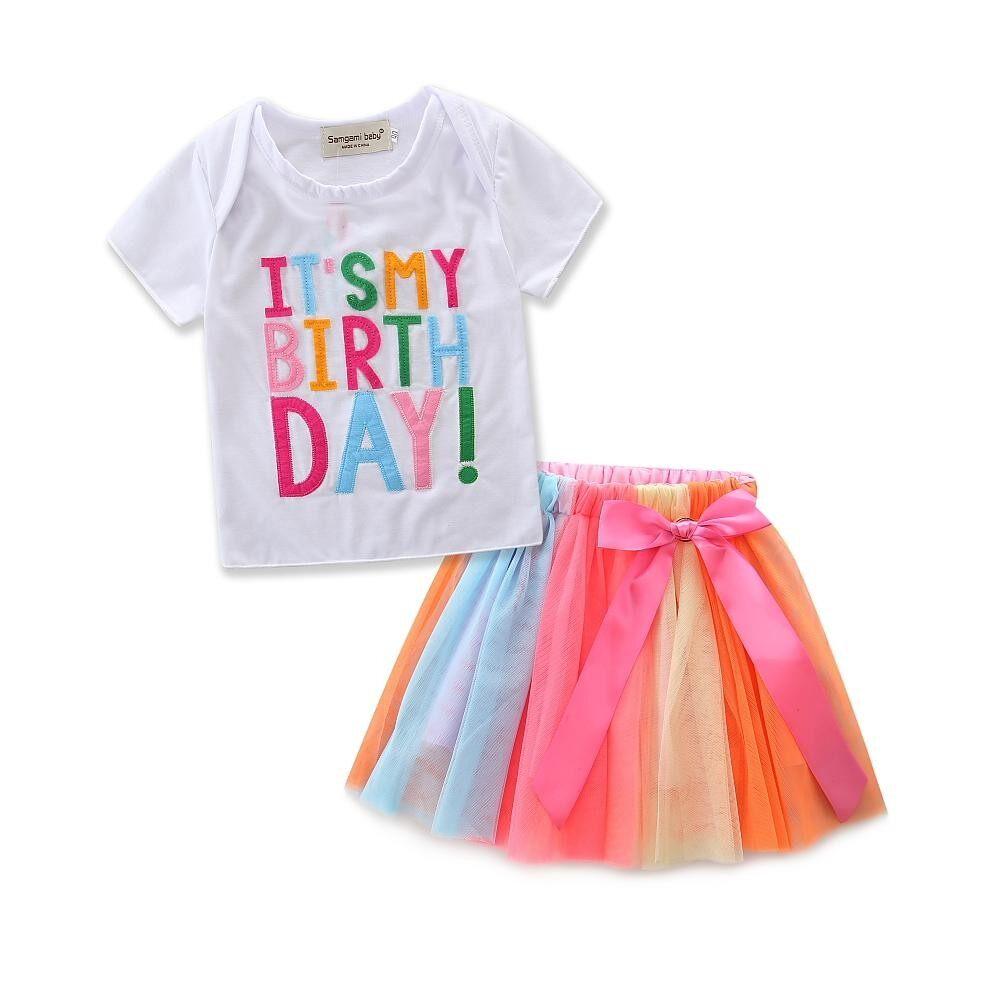 d0425e267f04 Baby girls birthday gift Summer new girls princess dress suit shirt + skirt  2 pcs set