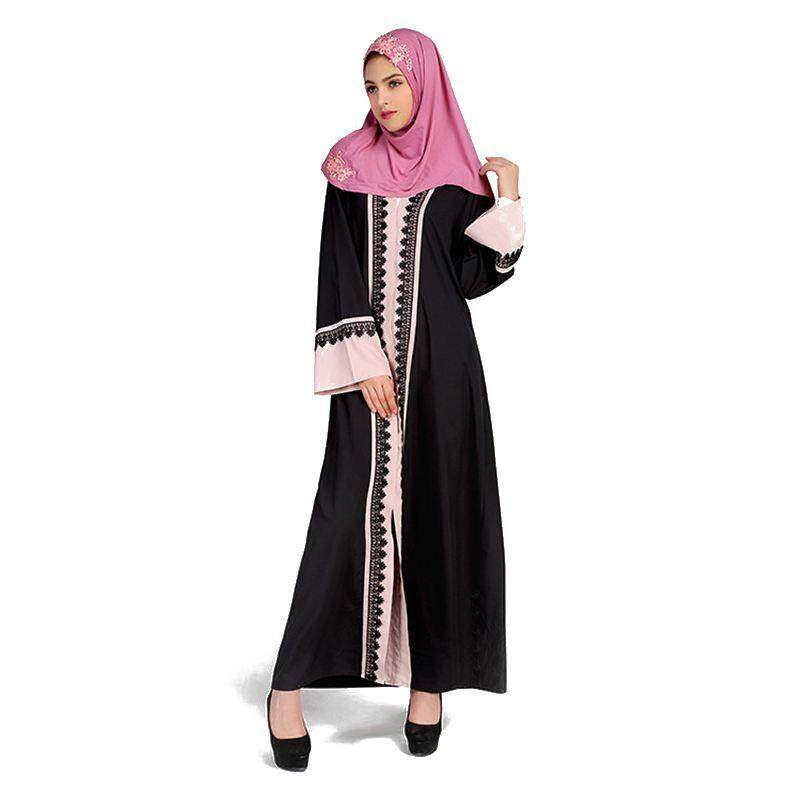 Women's New Spring Autumn Long Sleeved Lace Stitching Sleeve Dress Muslim Middle East Saudi Arabia Ladies
