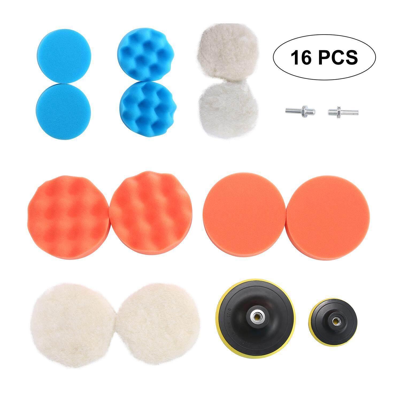 "Rodeal 16pcs 3""&5"" Compound Drill Buffing Sponge Pads Kit-Woolen Polishing Waxing"