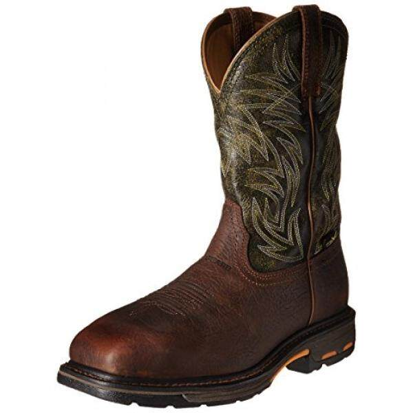 af8a66a0a6b Ariat Mens Workhog Wide Square Metguard Composite Toe Work Boot, Ridge  Brown/Moss Green, 12 EE US