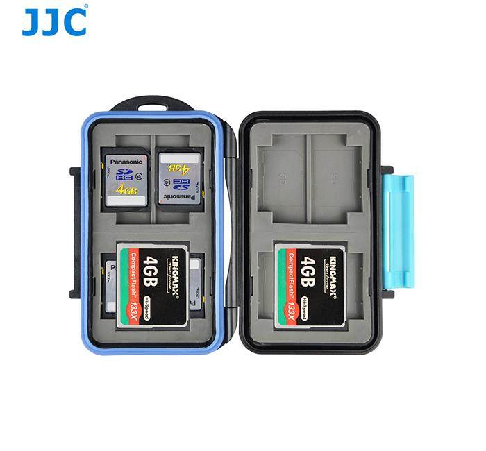 JJC MC-2 Anti-Shock Water-Resistant ABS Rubber Memory Card Case Holder Hard Storage Box For 4x CF / 8x SD Card