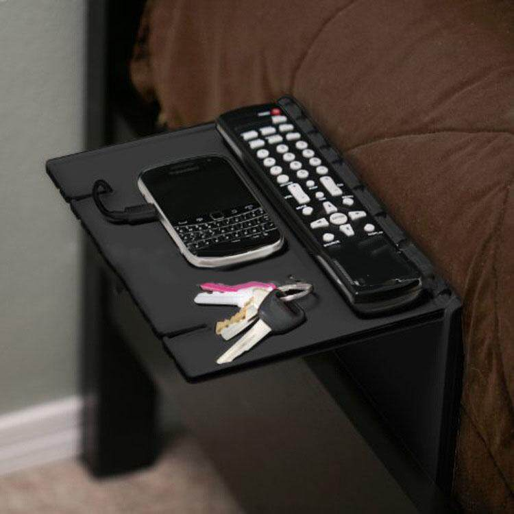 Black Holder Sofa Bed Bedside Foldable Attachment Shelf Bracket for Storage