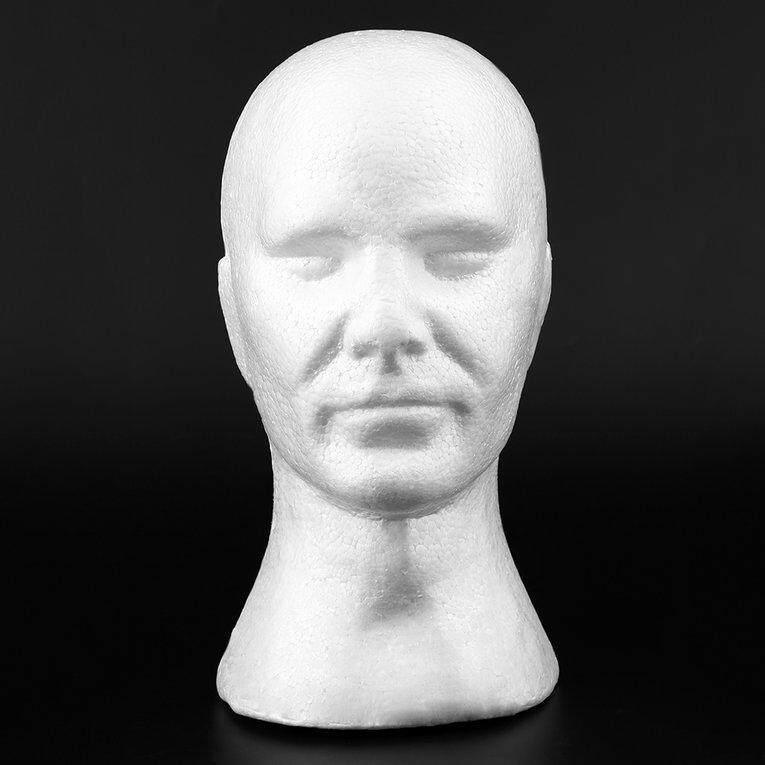 Laki-laki halus manekin kepala Model Wig topi kacamata Ketua Mannequin gelembung dengan telinga