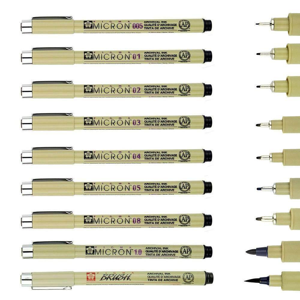 9 Pcs Sakura Micron Fine Liner Drawing Ink Pens & Brush Art Drawing Set - Intl By The First Store.