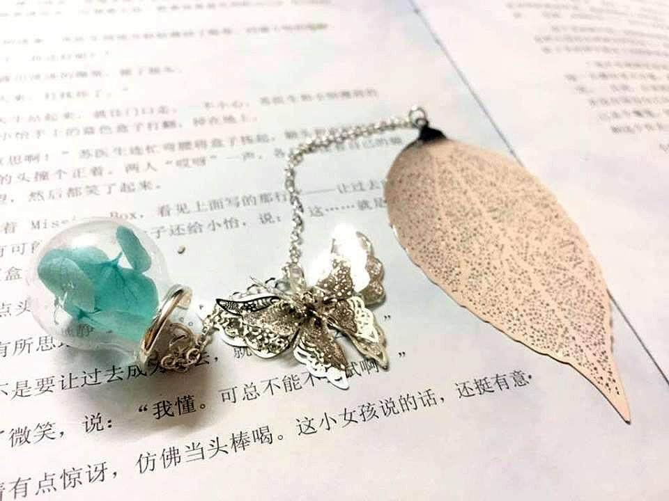 Silver Leaves Bookmark With Butterfly and Blue Flower