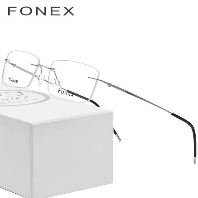Fonex ไม่มีสกรู Ultralight Square Rimless ไทเทเนียมโครงแว่นตาโลหะผสมผู้ชายแว่นสายตาที่มีใบสั่งจากแพทย์สายตาสั้นกรอบแว่นตาออพติคอล - Intl.