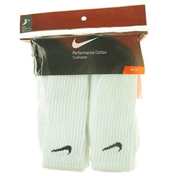 Nike Men/s Performance Cotton Cushioned Crew Socks, 6 Pair Large (shoe size 8-12) (White) Six Pack - intl