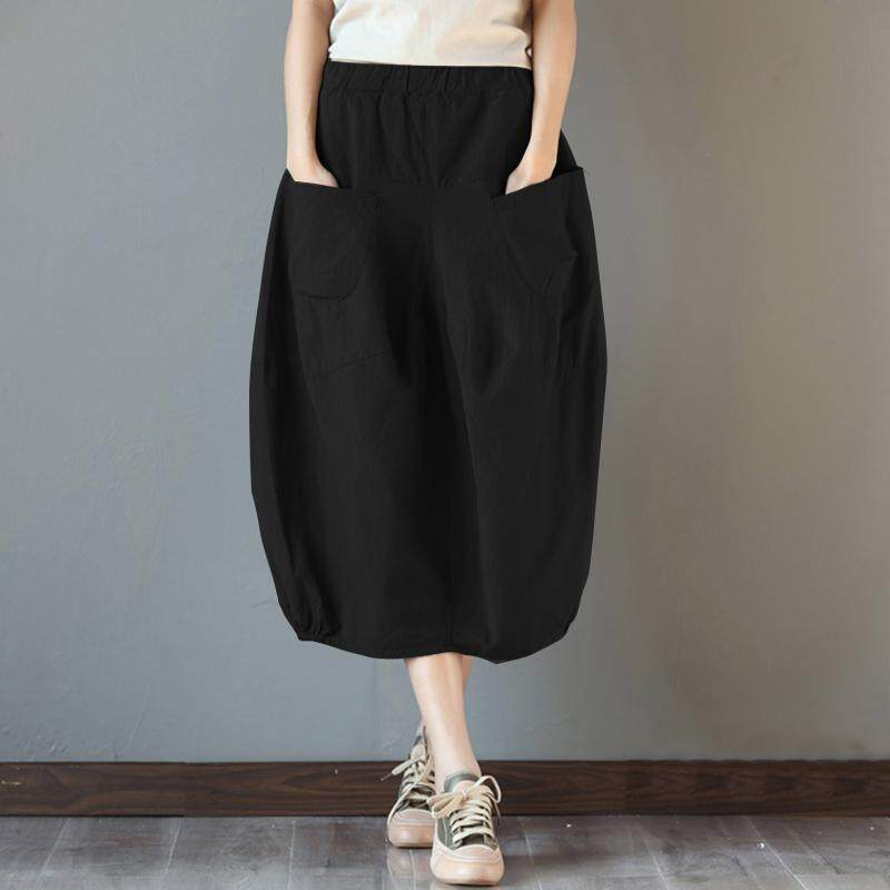 5b14b2c141e S-5XL ZANZEA Women Elastic High Waist Basic Dress Cotton Plus Size Midi  Skirt -