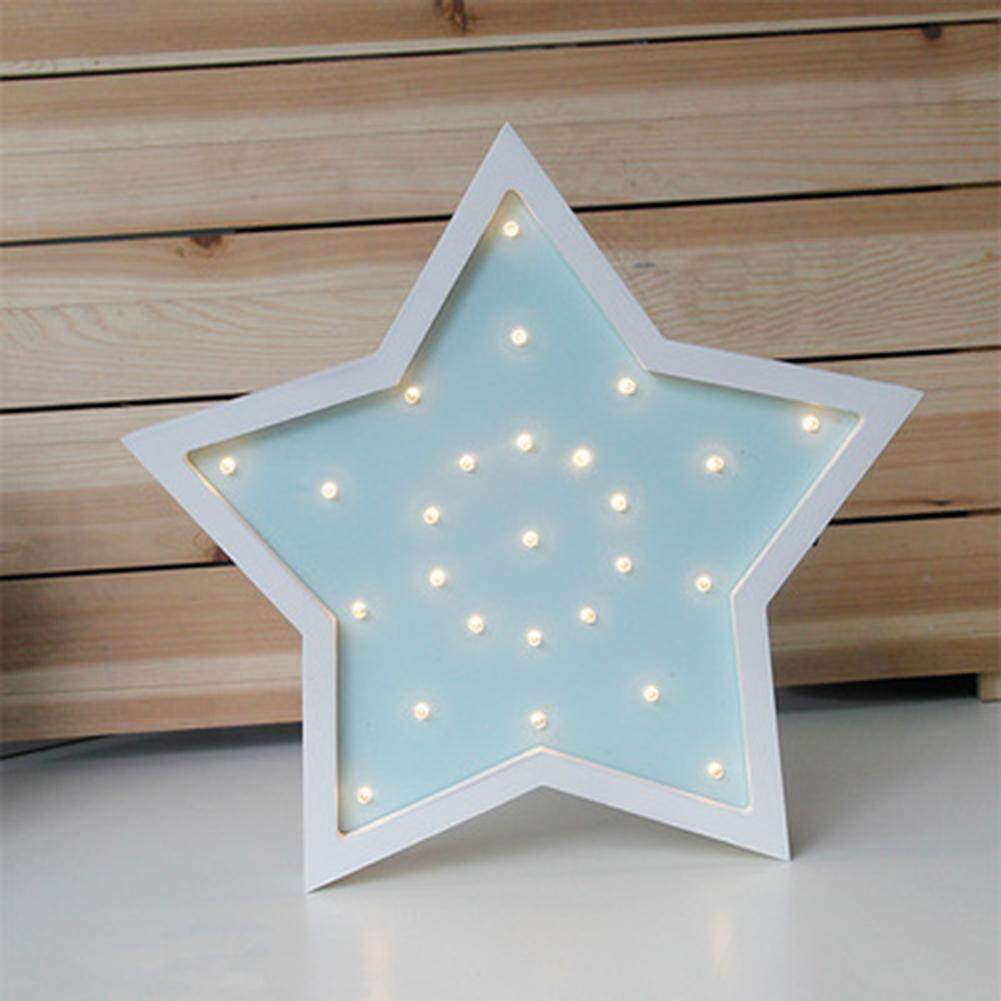 OS LED Wooden 5-pointed Star Night Light Desk Lamp Home Decoration Gift