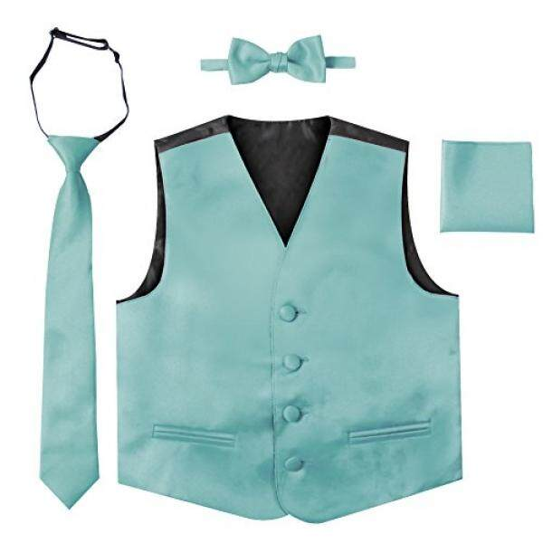 Luca Gabriel Balita Anak Laki-laki 4 Piece Formal Rompi Satin Set-Hawaii Biru-4-5-Intl