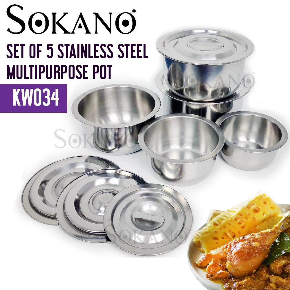 SOKANO KW034 Set of 5 Stainless Steel Multipurpose Pot With Lid Periuk 16,18,20,22,24cm