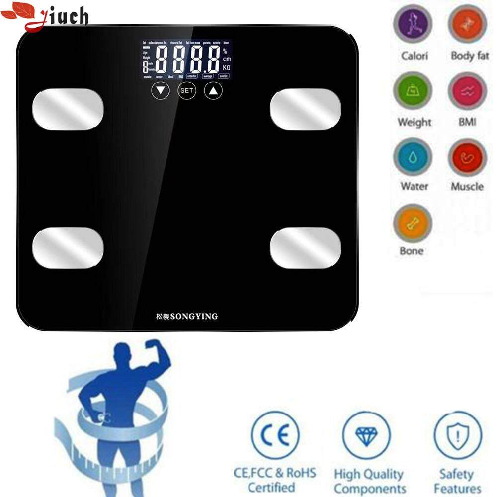 Jiuch 0.2-150kg Body Fat Floor Intelligent Electronic Digital Bmi Calorie Muscle Body Bathroom Weighing Scale Household Glass Weight Balance Fat Lcd Monitor Bathroom Scale By Jiuch.