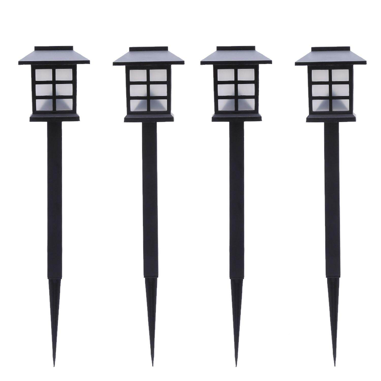 4 PCS Waterproof Outdoor Solar LED Pathway Landscape Light Lamp Stake for Garden Yard Lawn Pathway Patio Driveway White Light