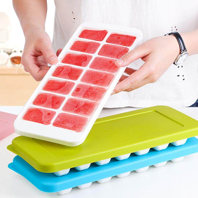 Easy Release Silicone Ice Cube Trays with Spill-Resistant Lids, 14 Shaped Cubes Each