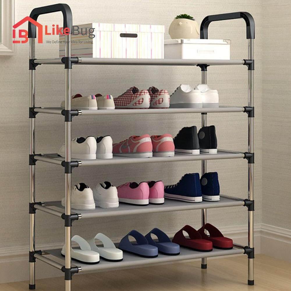 LIKEBUG: Stainless Steel 5 Tier Shoe Rack Organizer Storage Shelf   BLACK
