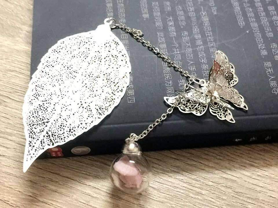 Silver Leaves Bookmark With Butterfly and Pink Flower