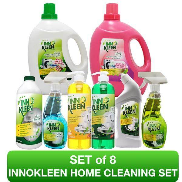 Set of 8 INNOKLEEN HOME The Complete Home Cleaning Set (Dishwash, Detergent, Multipurpose Cleaner)
