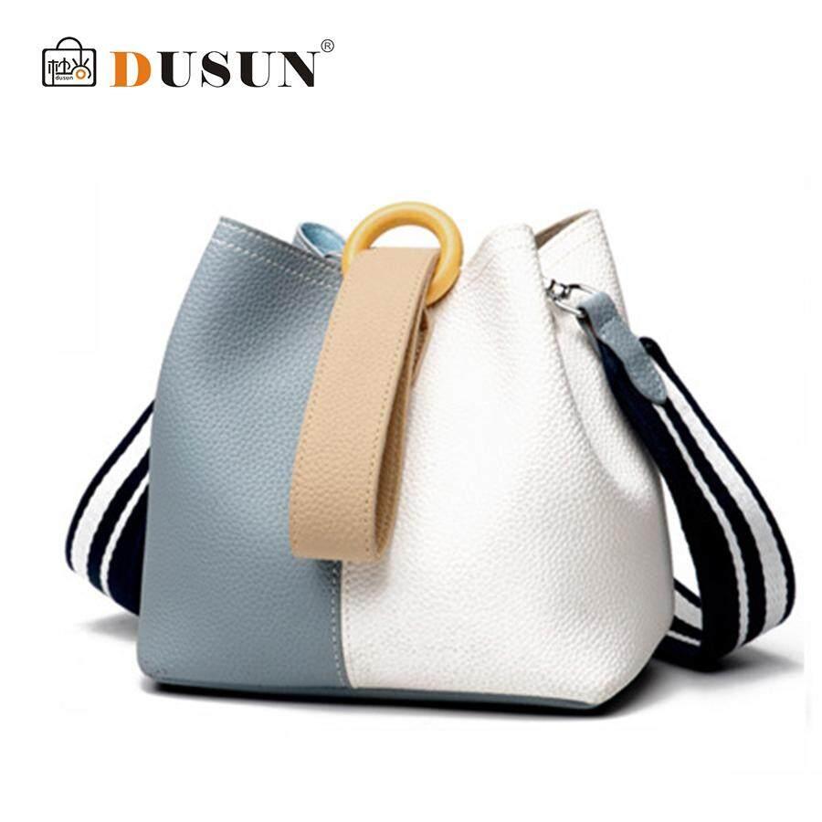 DUSUN Women Genuine Leather Bucket Bag Fashion Handbag Cow Leather Shoulder Bags Panelled Simple Messenger Bag Female Leisure - intl