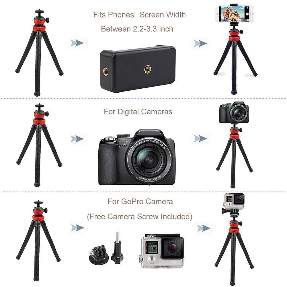 TP Fleksibel Smartphone Tripod Kamera dengan Penutup Remote Mini Penopang Kaki Tiga Portabel dengan Bluetooth Remote