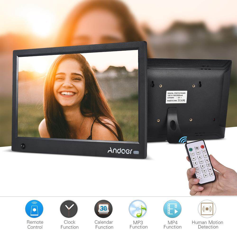 Andoer 11.6 Inch HD IPS Widescreen Digital Picture Frame Digital Photo Album 1920*1080 High Resolution with Full Featured Wireless Remote Motion Detection Support Music Video Playing Clock Calendar Functions Multi-language Interface
