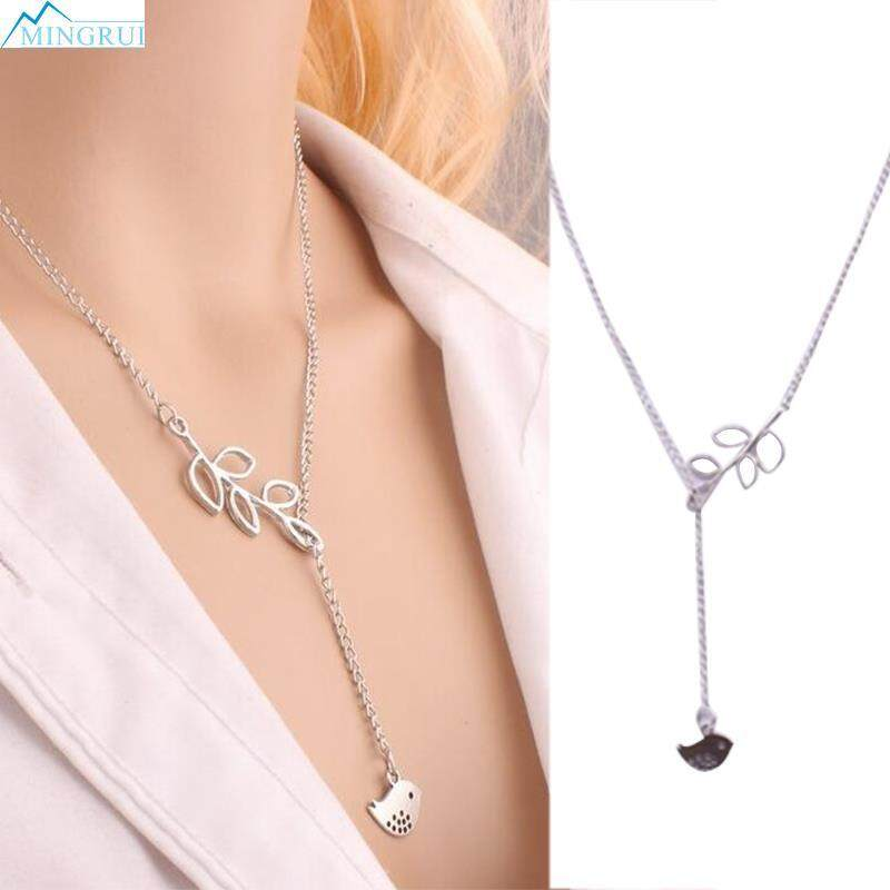 Leaf-Bird Pendant Short Necklace Charm Jewelry Chain Choker Chunky Statement