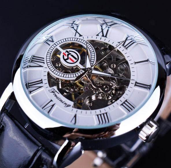 Forsining Pria Jam Tangan Merek Terbaik Mewah Kerangka Mekanikal Watch Emas  Hitam 3D Literal Desain Roman 4e8f7a9d23